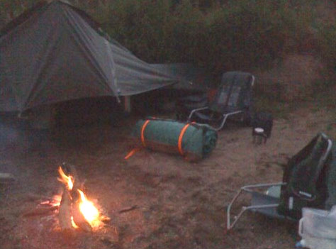 Camp set up, fire going and the Swag ready to be unrolled for the night...
