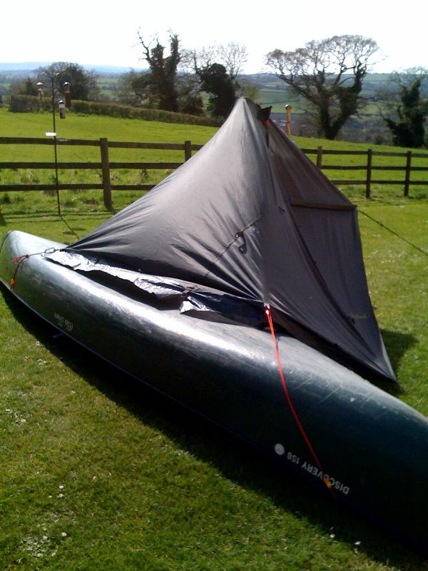 Tarp is held up by a paddle and secured to the canoe giving extreme stability without the need for pegging.