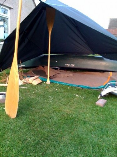 canoe tarp backyard test