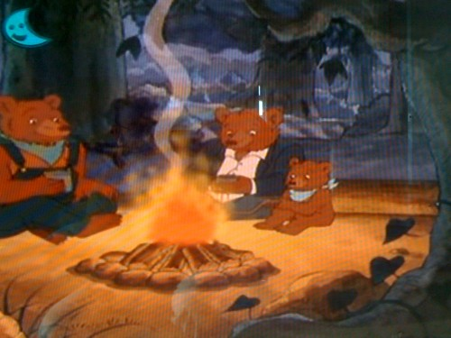 The Bears keeping warm by the fire...